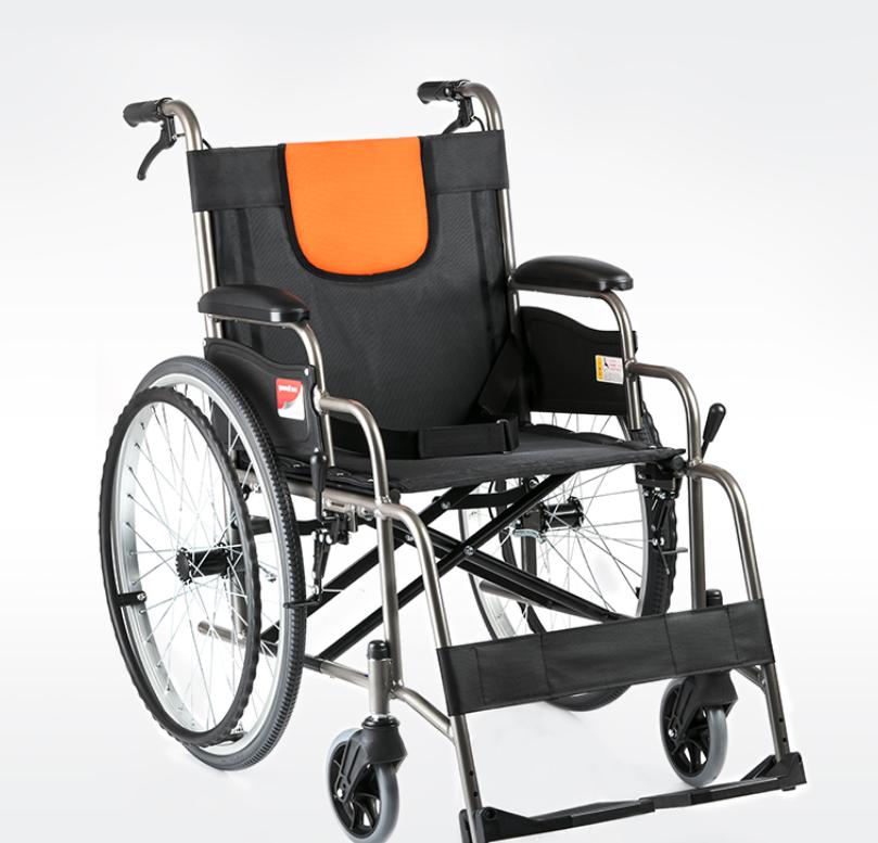 魚躍輪椅H062鋁合金老人輪椅折疊輕便老年手動代步車手推車