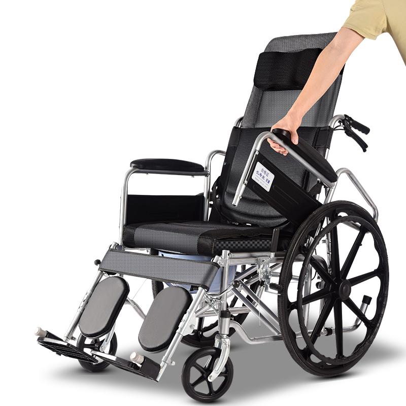 輪椅折疊輕便小巧型中老年人輪椅車帶坐便器殘疾病人代步手動推車